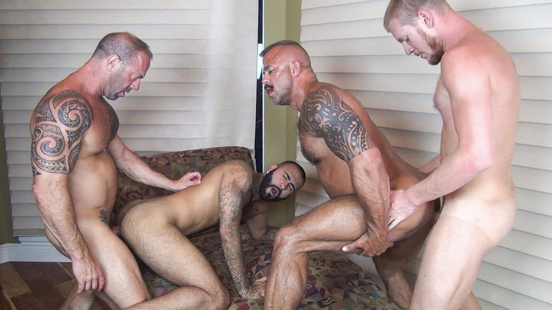 Raw Fuck Club Vic Rocco and Rikk York and Billy Warren and Job Galt Bareback Daddy Amateur Gay Porn 09 Four Hairy Muscle Daddies In A Bareback Fuck Fest Orgy
