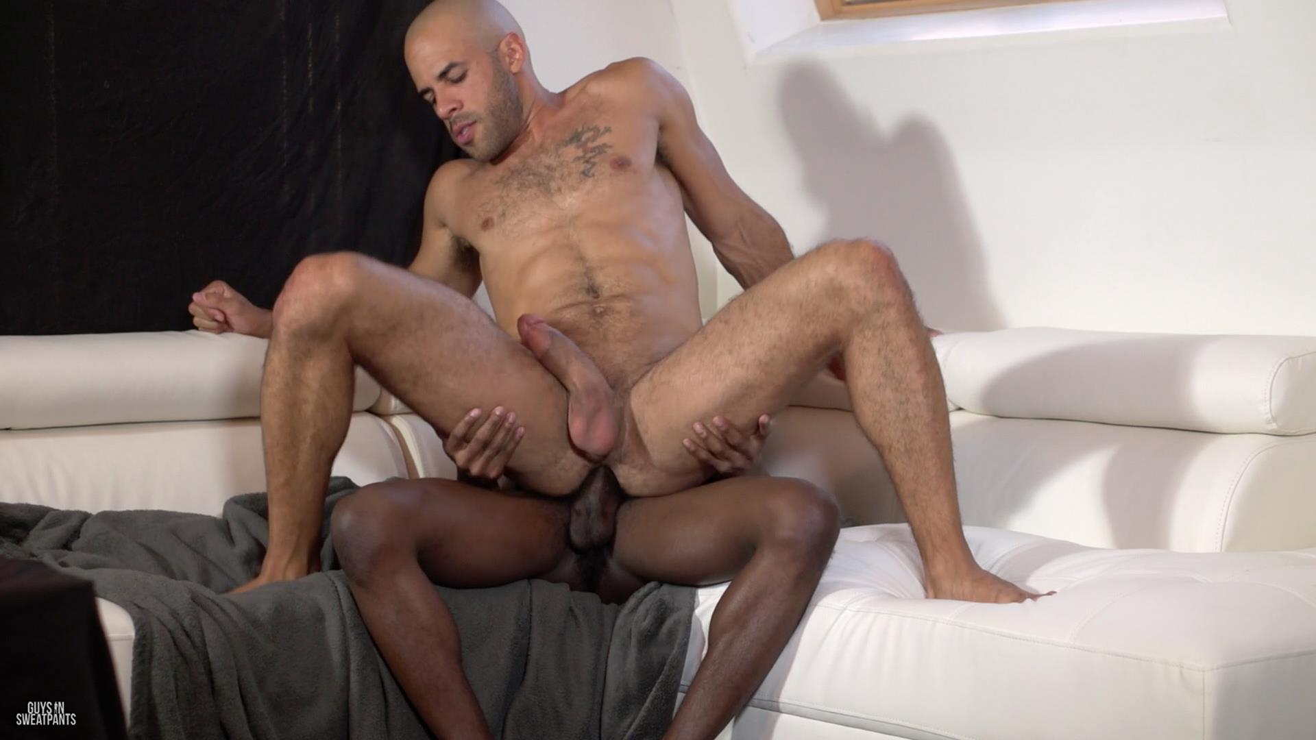 Guys in Sweatpants Austin Wilde and Liam Cyber Bareback Interracial Sex Amateur Gay Porn 07 Austin Wilde Takes A Big Black Bareback Cock Up The Ass