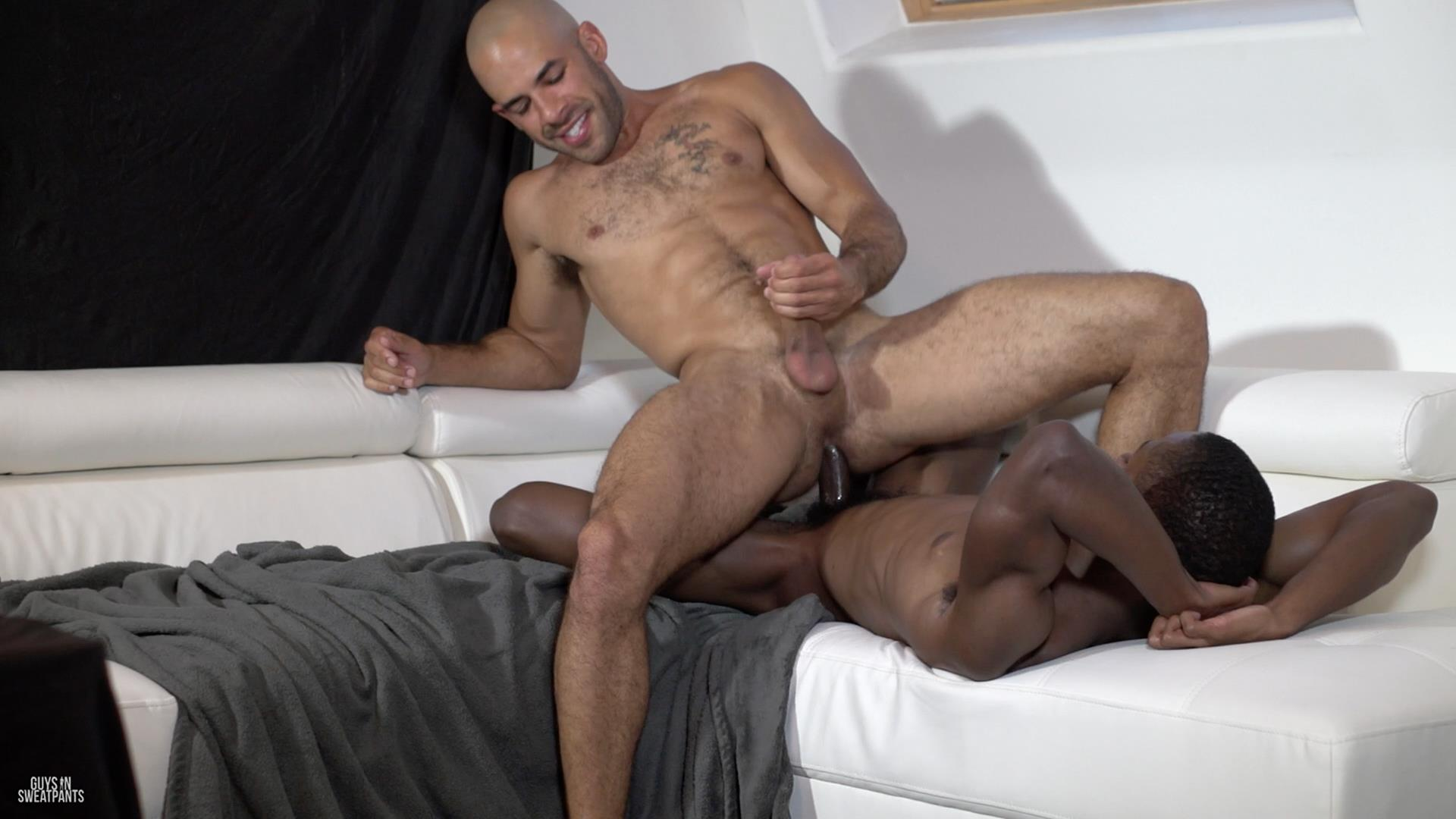 Guys in Sweatpants Austin Wilde and Liam Cyber Bareback Interracial Sex Amateur Gay Porn 10 Austin Wilde Takes A Big Black Bareback Cock Up The Ass